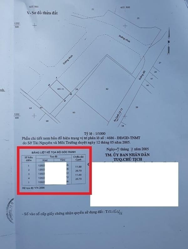 Hình 6: Thông tin tọa độ trên chủ quyền